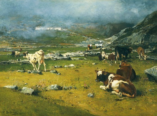 Mountain landscape with cows grazing in the upper area of Biella, by Lorenzo Delleani (1840-1908). : Stock Photo