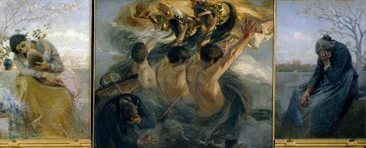 Glory, triptych, by Giuseppe Mentessi (1857-1931). : Stock Photo
