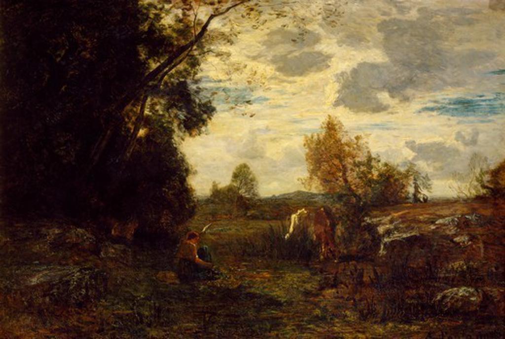 October morning, by Antonio Fontanesi (1818-1882). : Stock Photo