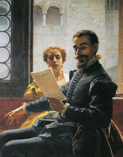 Stock Photo: 1788-50341 Torquato Tasso reading Liberated Jerusalem to Eleonora d'Este, the second version, 1865, by Domenico Morelli (1826-1901), oil on canvas. Detail.
