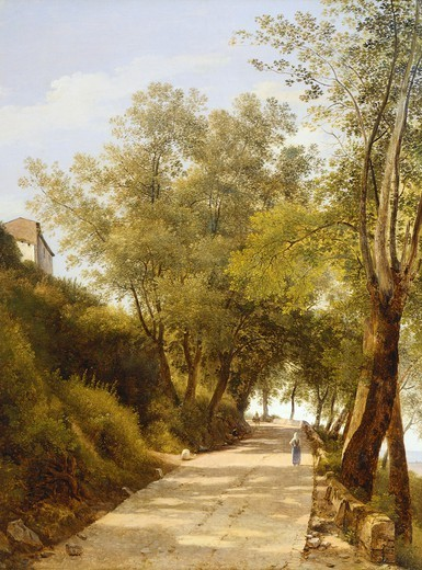 Stock Photo: 1788-50349 The walk up to Ariccia, 1839, by Giambattista Bassi (1784-1852).Detail.