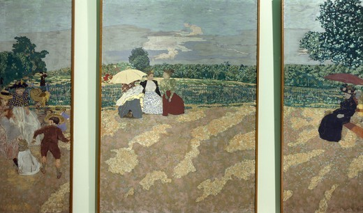The nursemaids, The conversation and The red parasol, three panels from the Public Gardens series, 1894, by Edouard Vuillard (1868-1940), tempera on canvas, 213x73, 213x154, 213x81 cm. : Stock Photo