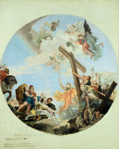 Stock Photo: 1788-50400 The discovery of the True Cross, 1890, by Lazzaro Luxardo (1865-1949), oil on canvas, 67x56 cm. Copy of a Tiepolo work.
