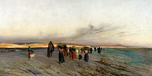 Stock Photo: 1788-50403 Returning from the woods at dusk, 1868, by Alfredo D'Andrade (1839-1915), oil on canvas.