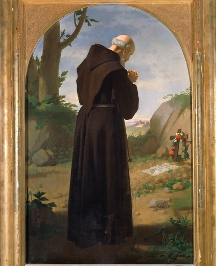 Monk praying at a grave, 1867, by Louis Sciallero (1829-1920), oil on canvas, 113x70 cm. : Stock Photo