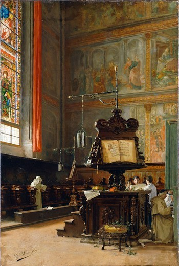 In the choir, by Giovanni Battista Torriglia (1858-1937), oil on canvas, 60x40 cm. : Stock Photo