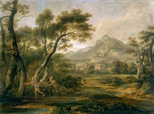 Stock Photo: 1788-50410 Satyr chasing a nymph, by Andrew Wilson (1780-1848), oil on canvas, 33x44 cm.