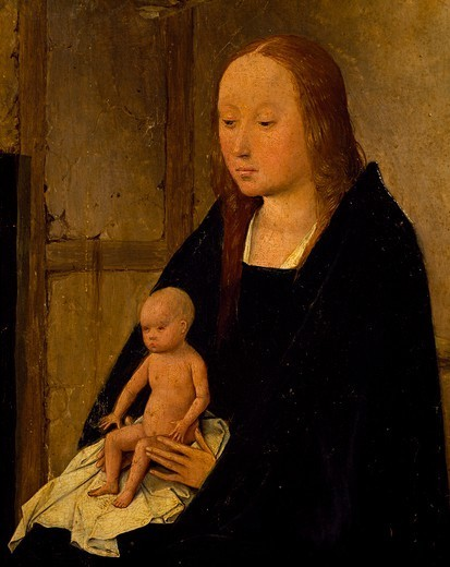 Stock Photo: 1788-50489 The Virgin with Child, detail from the central panel of the the Adoration of the Magi or the Epiphany altarpiece, 1510, by Hieronymus Bosch (ca 1450-1516).