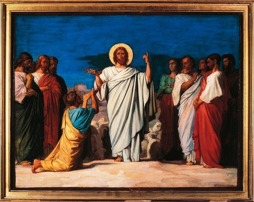 Stock Photo: 1788-50508 The mission of the Apostles, 1861, by Jean Hippolyte Flandrin (1809-1864), preparatory cartoon for the paintings of Saint Germain-des-Pres.