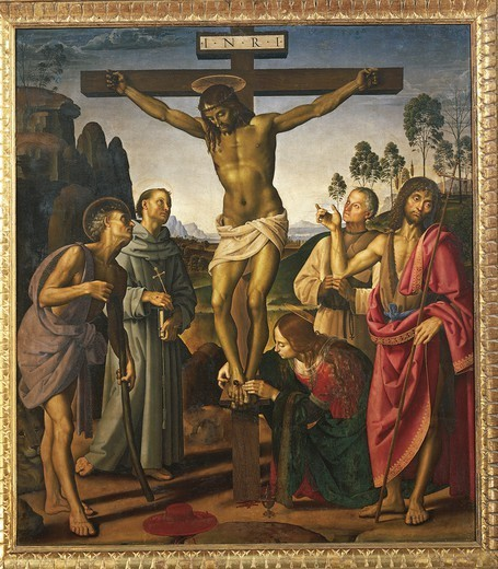 Crucifixion with Saints, 1483-1495, by Pietro Perugino (ca 1450-1523) and Luca Signorelli (1445-1523), oil on wood, 203x180 cm. : Stock Photo
