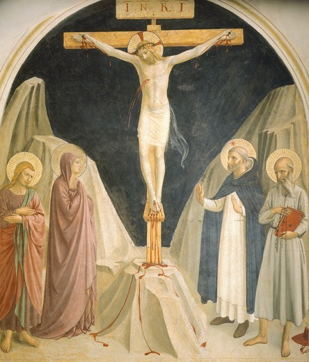 Stock Photo: 1788-50565 Crucifixion and  St John and Mary, St Dominic and St Jerome, 1437-1445, by Giovanni da Fiesole, known as Fra Angelico (ca 1400-1455), fresco. Cells of the first floor, St Mark's Convent, Florence.