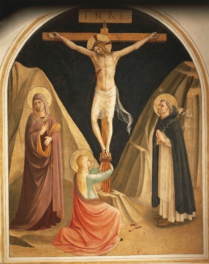 Stock Photo: 1788-50566 Mary Magdalene at the feet of crucified Christ, 1437-1445, by Giovanni da Fiesole, known as Fra Angelico (ca 1400-1455), fresco. Cells of the first floor, Convent of St Mark's, Florence.