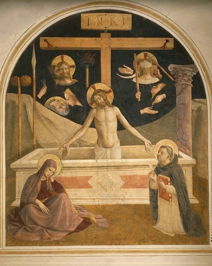 Christ in Pieta between Mary and St Dominic (or St Thomas), 1437-1445, by Giovanni da Fiesole, known as Fra Angelico (ca 1400-1455), fresco, 182x157 cm. Cells from the first floor, St Mark's Convent, Florence. : Stock Photo