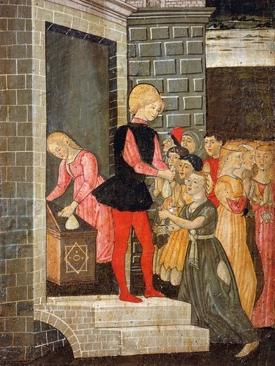 St Eligius performing acts of charity, detail from the Stories of the life of St Eligius, 15th century. : Stock Photo