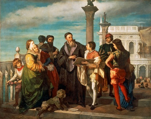 Stock Photo: 1788-50593 The Meeting Between Titian (1488-1576) and young Veronese (1528-88) on the Ponte della Paglia, 1861, by Antonio Zona (1814-1842), oil on canvas.