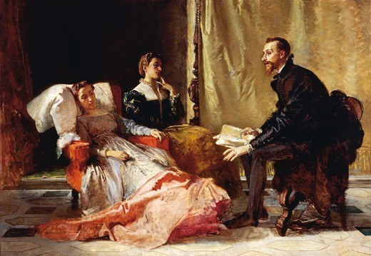 Stock Photo: 1788-50600 Torquato Tasso reading Liberated Jerusalem to Eleonora d'Este, the first version, 1865, by Domenico Morelli (1826-1901), oil on canvas, 185x266 cm. Detail.