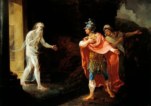 Stock Photo: 1788-50668 Anchises and the Sibyl Deifobe leading Aeneas' soul to hell, by Biagio Manfredi.