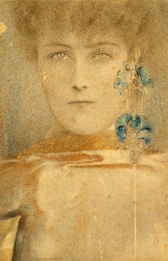 White mask, 1912, by Fernand Khnopff (1858-1921), pencil drawing, pastel and wax : Stock Photo