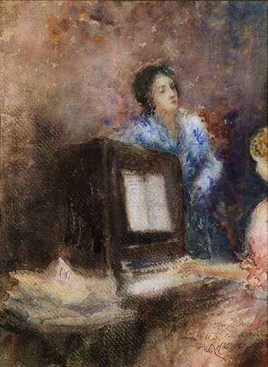 Stock Photo: 1788-50724 At the piano, by Daniele Ranzoni (1843-1889), watercolor on paper, 31x23 cm.
