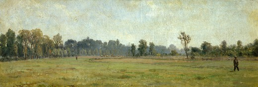 Pasture, willows and figurines in Grez, by Filippo Palizzi (1818-1899). : Stock Photo