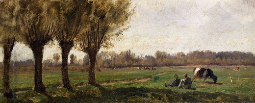 Stock Photo: 1788-50735 Landscape in Grez, 1859-63, Filippo Palizzi (1818-1899), oil on canvas, 13x37 cm.