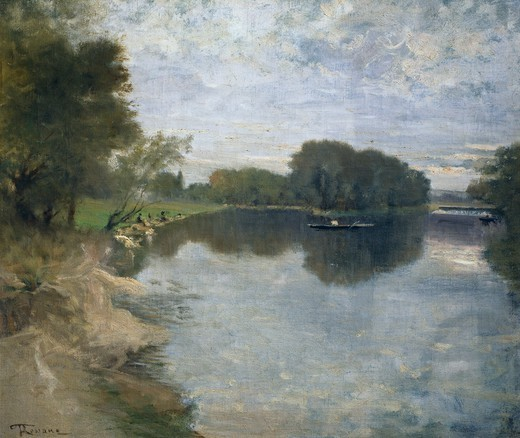Stock Photo: 1788-50736 The banks of the Seine, by Federico Rossano (1835-1912).