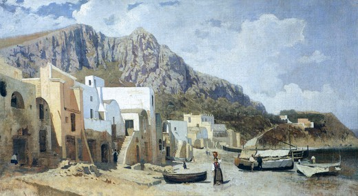 Capri, 1866, by Guglielmo Ciardi (1842-1917). : Stock Photo