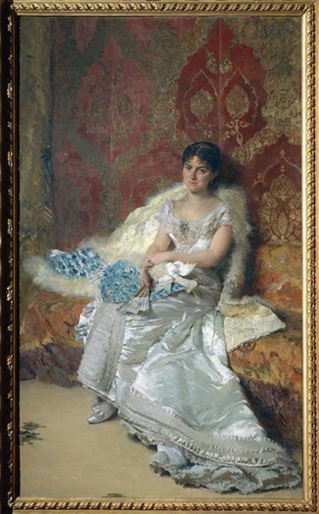 Stock Photo: 1788-50741 Portrait of Mrs. Theresa Oneto Maglione, 1879, by Domenico Morelli (1826-1901), oil on canvas.