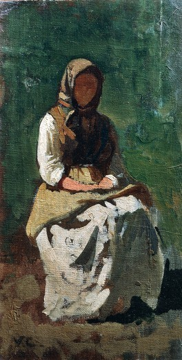 Peasant Woman at Montemurlo, 1862, by Vincenzo Cabianca (1833-1902). : Stock Photo
