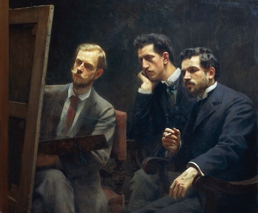 Stock Photo: 1788-50743 Portrait of his son Eduardo Gordigiani,a painter, the architect  Egisto Fabbri and the painter Alfredo Muller, 1895, by Michele Gordigiani (1830-1909).
