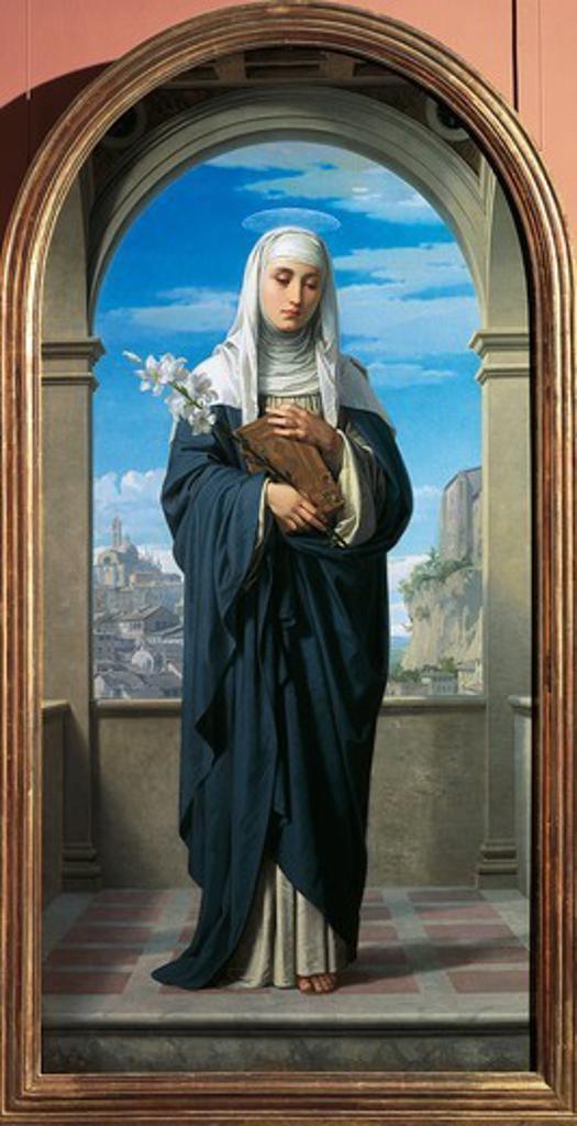 St Catherine of Siena, 1888, by Alessandro Franchi (1838-1914). : Stock Photo