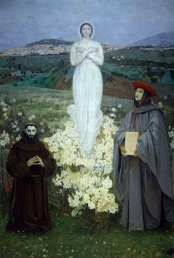 Stock Photo: 1788-50747 The apparition of the Virgin to St Francis of Assisi and Bonaventure, by Luigi Serra (1846-1888).