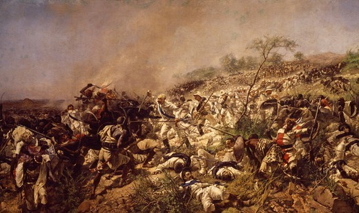 The Battle of Dogali, by Michele Cammarano (1835-1920). : Stock Photo