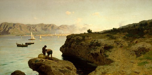 View of Palermo from the Ospizio Marino (hospital), Francesco Lojacono (1841-1915). : Stock Photo
