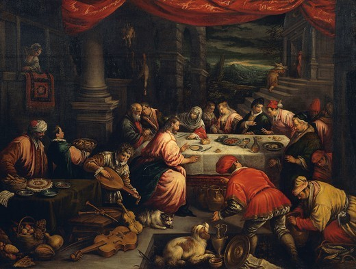 The Wedding at Cana, by Leandro Bassano (1557-1622), oil on canvas. : Stock Photo