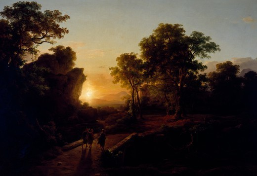 Christ at Emmaus, 1845, by Caroly Marko II (1822-1891), oil on canvas, 138x200cm. : Stock Photo