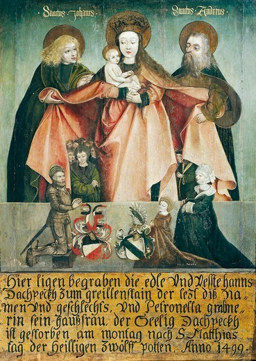 Stock Photo: 1788-50852 The Virgin with Child between St John and St Andrew, at her feet members of the Kuefstein and Puchheim families, builders in Greillenstein, 1499, painting.