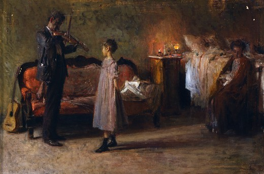 The busker's family, by Gaetano Esposito (1858-1911), oil on canvas, 38x56 cm. : Stock Photo