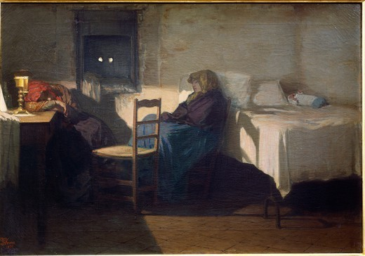 Stock Photo: 1788-50908 The guardian watching over baby hatch, 1877, by Gioacchino Toma (1836-1891), oil on canvas, 57.5 x 83 cm.