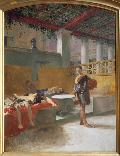 Stock Photo: 1788-50909 The Triclinium after the Orgy, about 1860, by Domenico Morelli (1826-1901), oil on canvas.