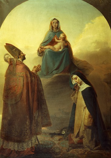 The Virgin with her divine Son and Saints Charles Borromeo and Catherine of Siena, 1857, by Angelo Ribossi (1822-1886). : Stock Photo