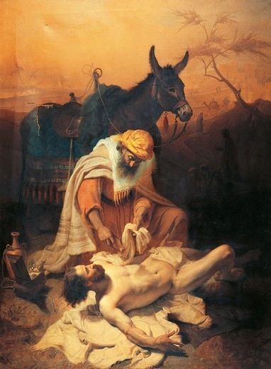Stock Photo: 1788-50975 The parable of the Samaritan, 1851, by Baldassare Verazzi (1819-1886), oil on canvas, 176x236 cm.