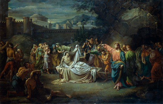 Christ resurrects the widow of Naim's son, 1806-1816, by Jean Baptiste Joseph (1762-1834), oil on canvas. : Stock Photo