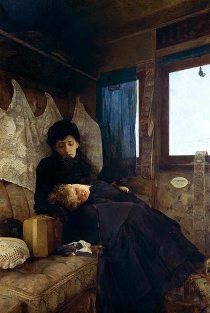Stock Photo: 1788-51001 Sad journey, by Raffaele Faccioli (1845-1916).