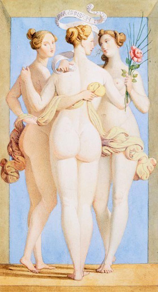 Stock Photo: 1788-51022 Friendship, by Giovanni Sanguinetti (1789-1867), watercolour.