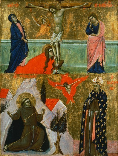 Stock Photo: 1788-51054 Panel showing the Crucifixion of Jesus, the stigmata of St Francis and a representation of St Louis of Toulouse, by the Master of Dittico Sterbini (14th century).
