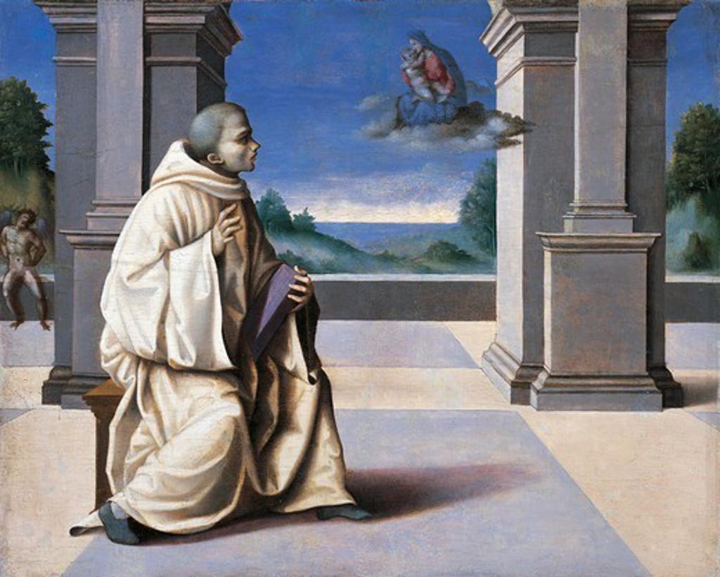 Vision of St Bernard, by Francesco Ubertini Bacchiacca (1494-1557), panel. : Stock Photo