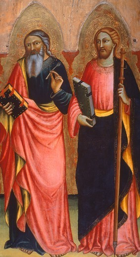 The Saints John the Evangelist and James, detail of a panel showing Madonna with Child, Angels and the Saints John the Evangelist and James, 1401, by Nanni di Jacopo. : Stock Photo