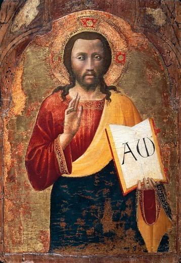 Stock Photo: 1788-51103 The Saviour blessing, 1419, by a Tuscan artist, tempera and gold on wood.