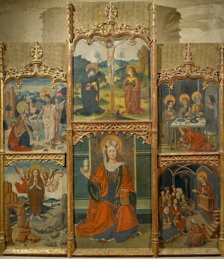 Stock Photo: 1788-51110 Altarpiece of Mary Magdalene, by an unknown Aragonese artist (late 15th century).